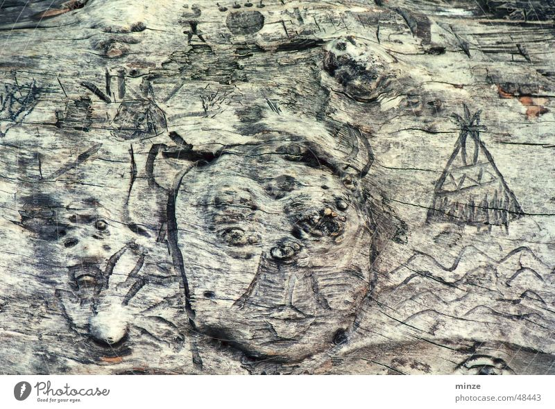 ethno_3 Holz Dinge Ethnologie Indianer Symbole & Metaphern Ikon Furche verfallen Gesicht