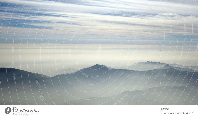 Over the andes Ferien & Urlaub & Reisen Ferne Freiheit Berge u. Gebirge Landschaft Urelemente Luft Himmel Wolken Wetter Nebel Gipfel Anden Flugzeug ruhig