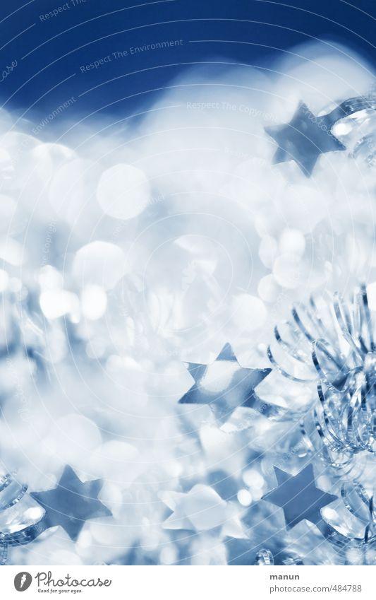 xmas Feste & Feiern Weihnachten & Advent Weihnachtsdekoration Weihnachtsstern Stern (Symbol) glänzend kalt Kitsch blau silber weiß Farbfoto Menschenleer