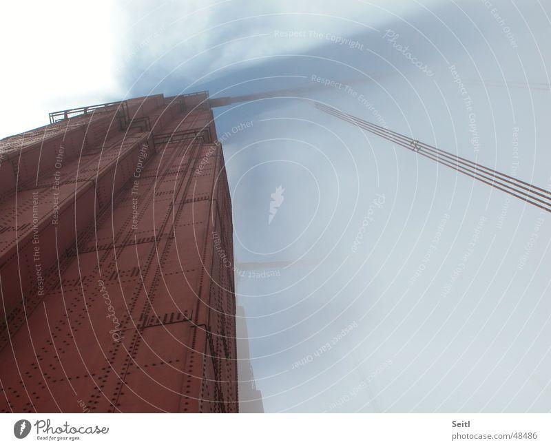Golden Gate Bridge Himmel rot Wolken Nebel Wind Brücke USA Säule Eisen Kalifornien San Francisco Rostschutzfarbe