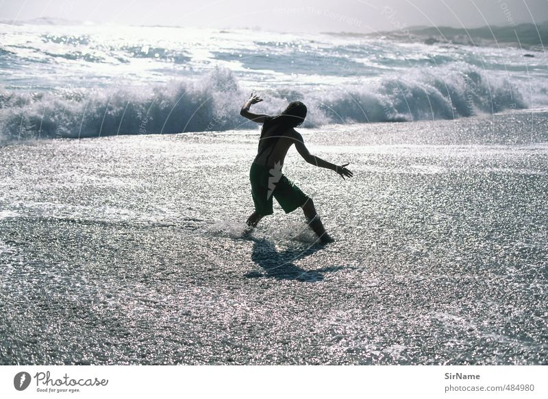 242 [feeling the power] Kind Natur Jugendliche Wasser Meer Strand Junger Mann Leben Sport Bewegung Spielen Kraft Wellen 13-18 Jahre nass Urelemente