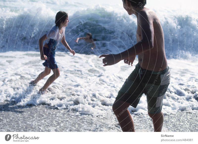 244 [wilde wellen] Mensch Kind Jugendliche Ferien & Urlaub & Reisen Wasser Sommer Meer Freude Strand Leben Bewegung Junge Spielen Schwimmen & Baden natürlich