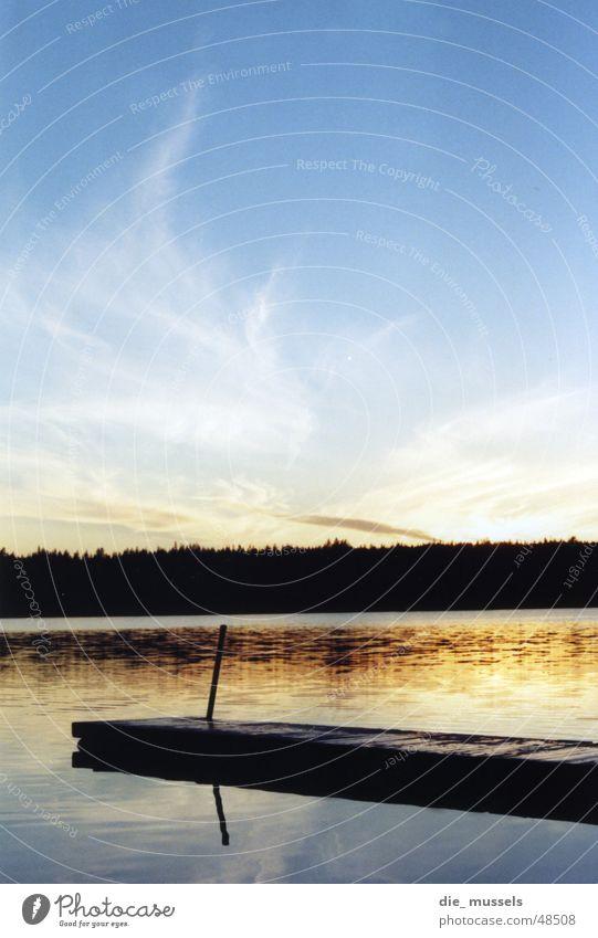 sonnenuntergang I Wasser Himmel Sonne Meer Wald See Stimmung orange Steg