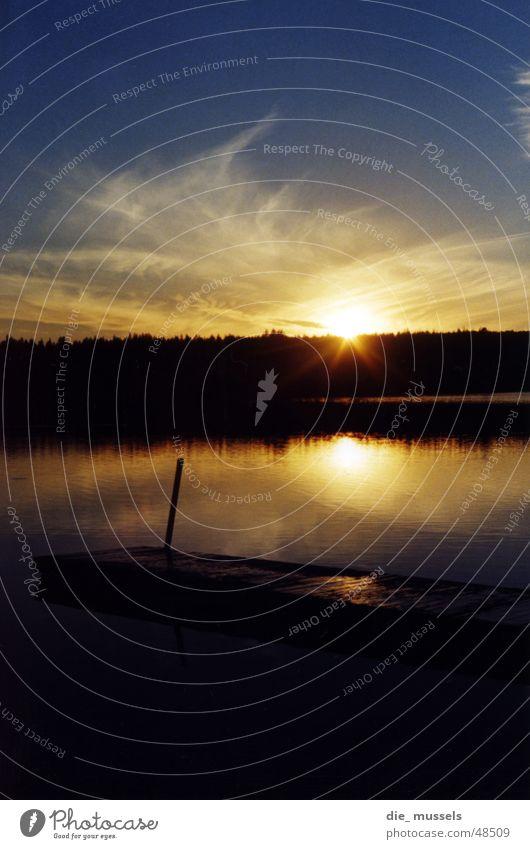 sonnenuntergang II Sonnenuntergang Steg See Meer Wald Stimmung Wasser orange Himmel