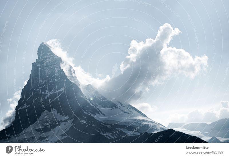 Matterhand Umwelt Natur Landschaft Urelemente Luft Himmel Wolken Sonnenlicht Klima Wetter Felsen Alpen Berge u. Gebirge Gipfel Schneebedeckte Gipfel wandern