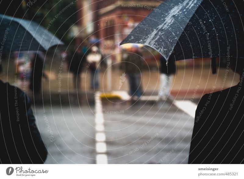 Regen, Schirme Mensch Stadt Wasser schwarz kalt Straße Herbst Wetter warten nass Wassertropfen Hamburg Regenschirm Stadtzentrum Langeweile