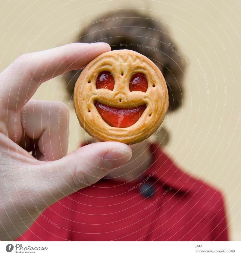 bitte lächeln! Keks 1 Mensch Lächeln lachen Freundlichkeit Fröhlichkeit Glück lecker lustig niedlich positiv verrückt rot Freude Lebensfreude Euphorie