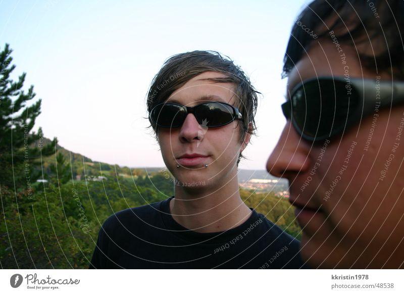 Flexible Faces 2 Mann Aussicht Thüringen Sonnenbrille Gesicht faces Mensch boys Doppelbelichtung Blick