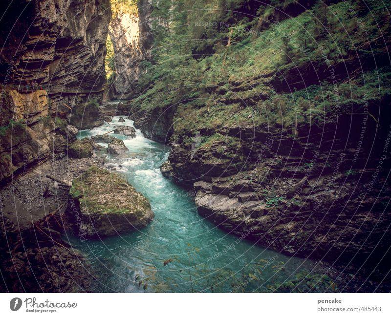 geotopisch Natur Landschaft Urelemente Wasser Schlucht Breitachklamm Stein Zeichen wandern Stimmung Kraft Bewegung Energie entdecken Durchbruch Fluss fließen