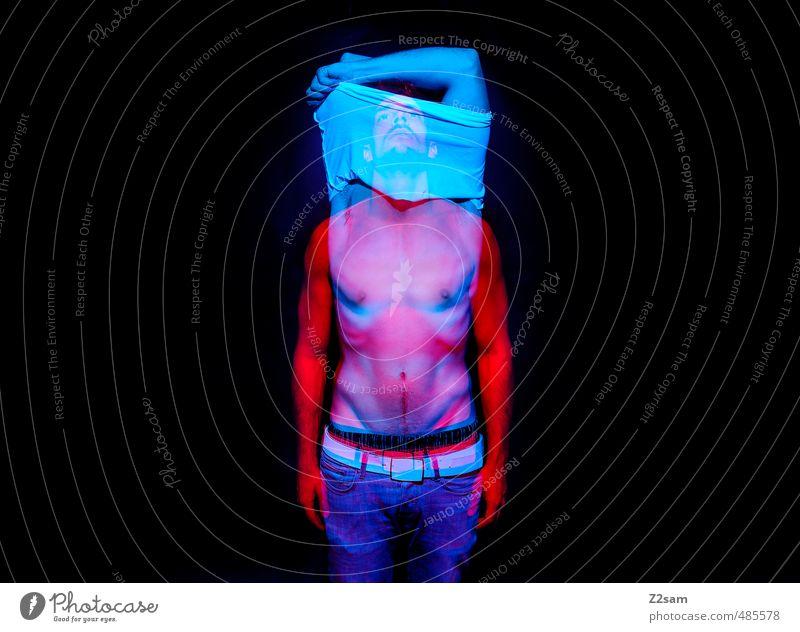 Schizophren elegant Stil maskulin Junger Mann Jugendliche 30-45 Jahre Erwachsene Jeanshose Bewegung stehen träumen sportlich dunkel gruselig kalt verrückt