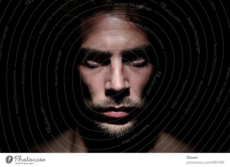 s..... Tag! Mensch Jugendliche 18-30 Jahre Junger Mann dunkel kalt Erwachsene Kopf maskulin Kraft Wut stark Bart nah Konflikt & Streit böse