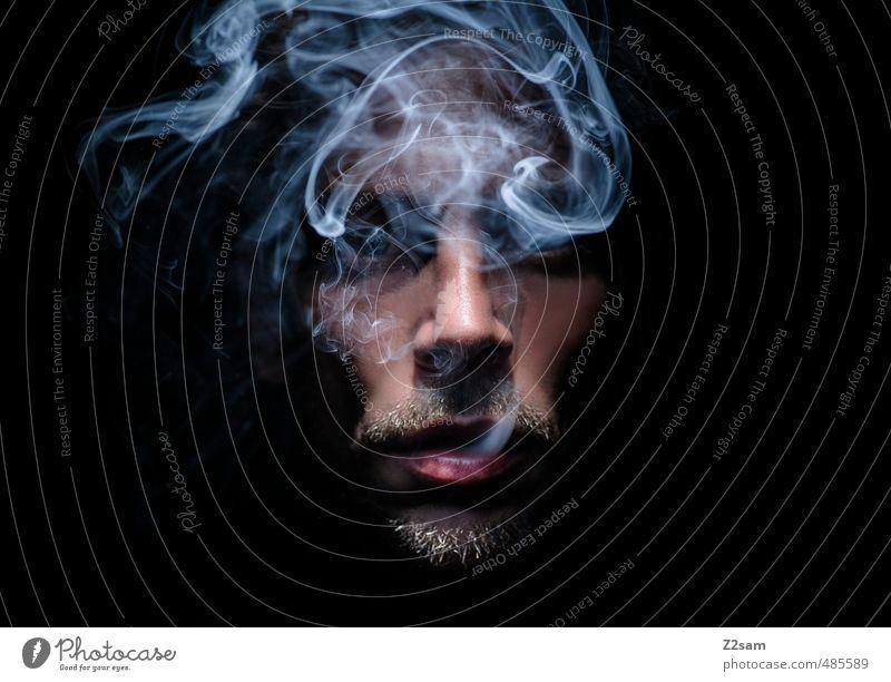 laster 3 Jugendliche Junger Mann Erwachsene dunkel kalt Gesundheit träumen maskulin genießen Coolness Lippen Rauchen Bart Gelassenheit nah gruselig