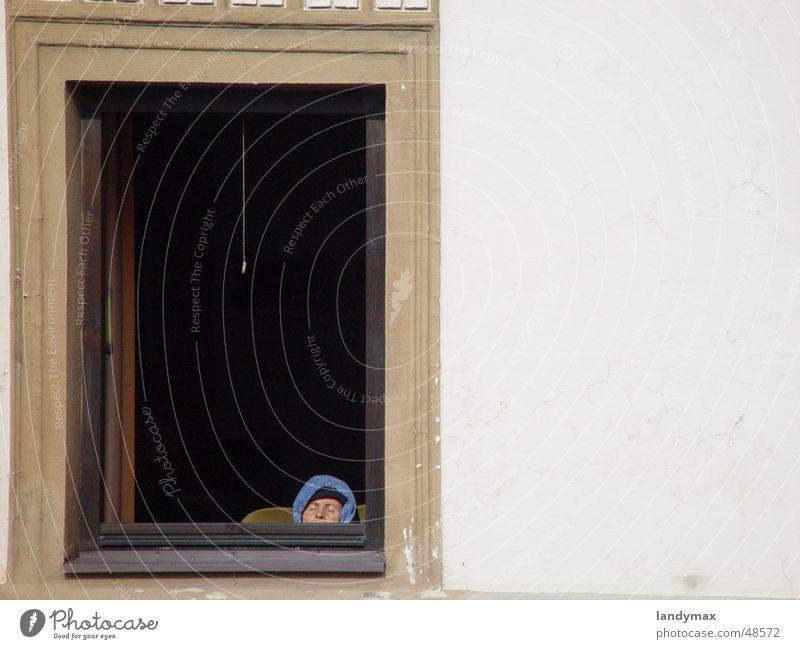 winterschlaf in haslach Aussicht Frau Senior Haslach Bundesland Oberösterreich Fenster braun schlafen Sonne kalt Winter Fensterrahmen Fassade Haus
