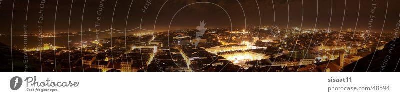 Lisbon Nights Lissabon Nacht Langzeitbelichtung Panorama (Aussicht) Stadt Portugal Europa Beleuchtung Straße groß Panorama (Bildformat)