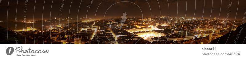 Lisbon Nights Stadt Straße Beleuchtung groß Europa Portugal Panorama (Bildformat) Lissabon