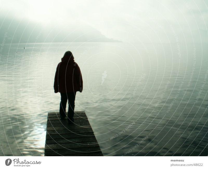 Ungewissheit Mensch Wasser See Landschaft Küste Nebel Steg ungewiss