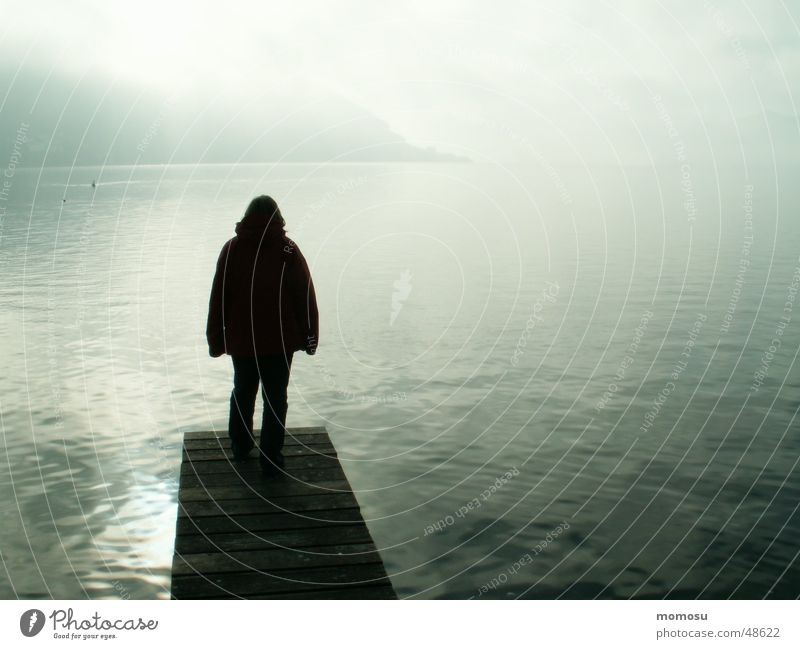 Ungewissheit See Nebel Steg ungewiss Küste Mensch Wasser Landschaft