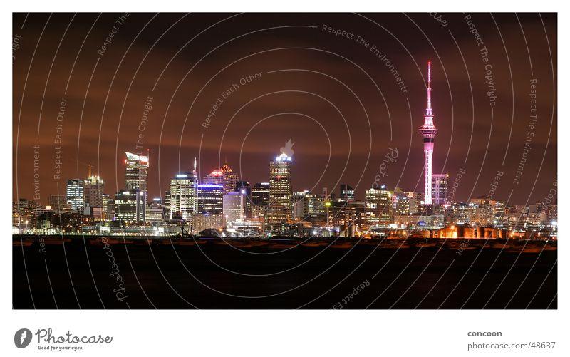 Auckland Skyline Neuseeland Sky Tower Hochhaus Nacht Panorama (Aussicht) city of sails high rise buildings groß Panorama (Bildformat)