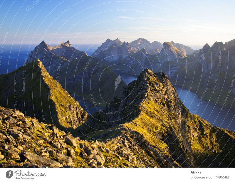 Lofoten XV Natur Ferien & Urlaub & Reisen Erholung Landschaft ruhig Ferne Berge u. Gebirge Leben Senior Bewegung Freiheit Horizont Stimmung Zusammensein Kraft