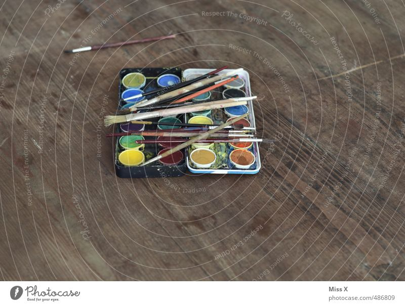 Mittelpunkt Farbe Farbstoff Kunst Freizeit & Hobby Kreativität malen Stillleben Pinsel Basteln Holztisch Wasserfarbe Farbkasten