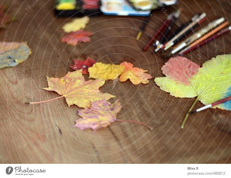 Herbstfärbung Farbe Freude Blatt Herbst Spielen Freizeit & Hobby malen Herbstlaub herbstlich Ahornblatt Pinsel Kunstwerk Basteln Herbstfärbung bemalt Holztisch