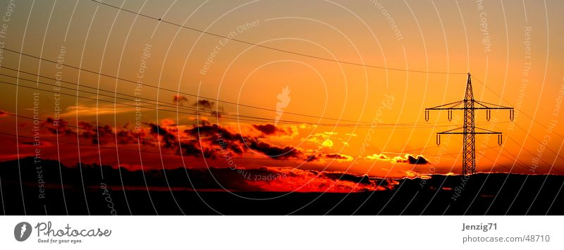 High voltage Himmel Sonne Wolken Elektrizität Kabel Strommast Abenddämmerung Starkstrom