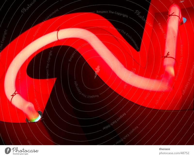 Profil 2 --zweitens rot Lampe 2 Schriftzeichen Ziffern & Zahlen Werbung Typographie Neonlicht Zarge