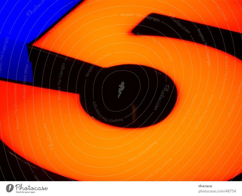 Profil 5 --zweitens schwarz Licht Werbung Typographie Neonlicht Ziffern & Zahlen Zarge Umleimer Spiegel five orange black blau blue Lampe light Schriftzeichen