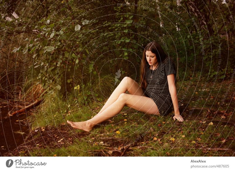 Jenny Jane Ausflug Junge Frau Jugendliche Beine 18-30 Jahre Erwachsene Natur Baum Gras Sträucher Moos Wald Seeufer Kleid Barfuß brünett langhaarig sitzen