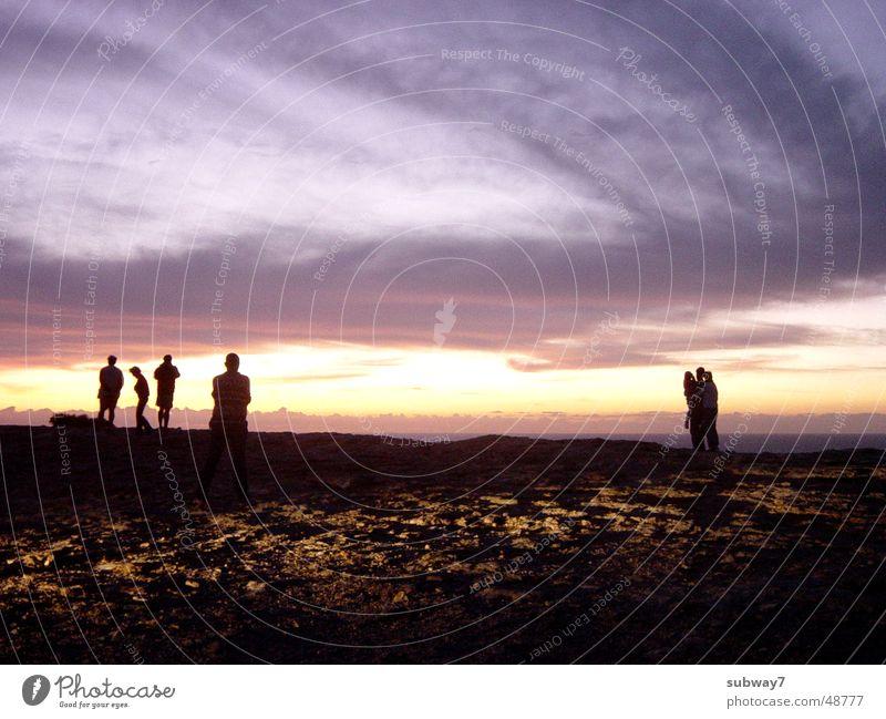 Warten auf den Untergang Sonnenuntergang Nacht Meer Küste Klippe Portugal Ferien & Urlaub & Reisen Wolken Völker Mensch Ferne Freizeit & Hobby Abend ruhig