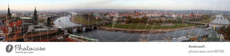 Panoramablick von der Frauenkirche Dresden Sachsen Panorama (Aussicht) Augustusbrücke Erneuerung historisch Horizont Stadt Zwinger Hofkirche Semperoper Elbe