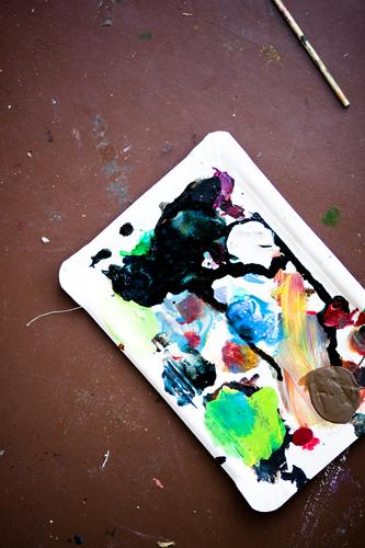 Kunst.Werk schön Erholung Freude Farbstoff Innenarchitektur Stil Glück Lifestyle Schule Design elegant Lächeln Studium Bodenbelag Gemälde