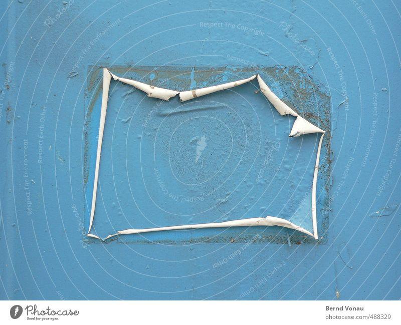 Ablösungsprozess Metall Kunststoff Schilder & Markierungen blau grau schwarz weiß Tür Etikett kleben Auswechseln verwittert rollen dreckig Blase lackiert