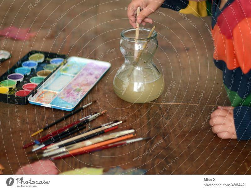 Malen Freizeit & Hobby Spielen Basteln Kinderspiel Mensch 1 1-3 Jahre Kleinkind 3-8 Jahre Kindheit dreckig niedlich mehrfarbig Farbe Kreativität malen
