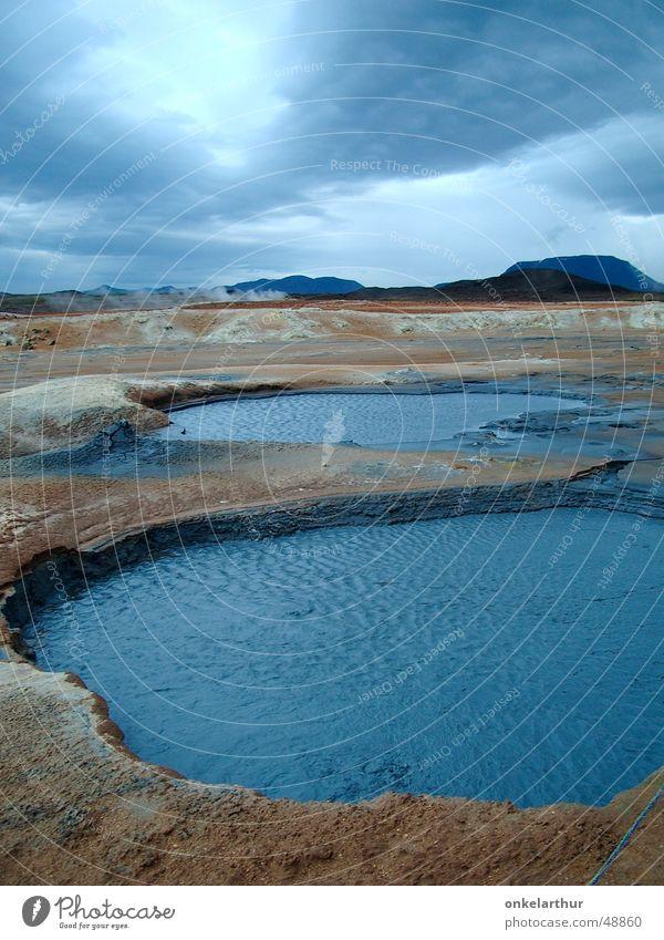 Island geothermal Wasser blau Wolken Geothermik Energiewirtschaft heiß Quelle Schwefel Heisse Quellen