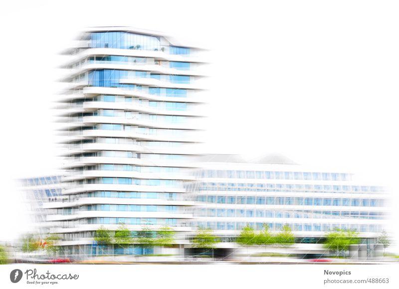 Unilever-House I Haus Pflanze Baum Grünpflanze Stadt Hafenstadt Menschenleer Hochhaus Gebäude Architektur Terrasse Tower (Luftfahrt) blau grün rot weiß Hamburg