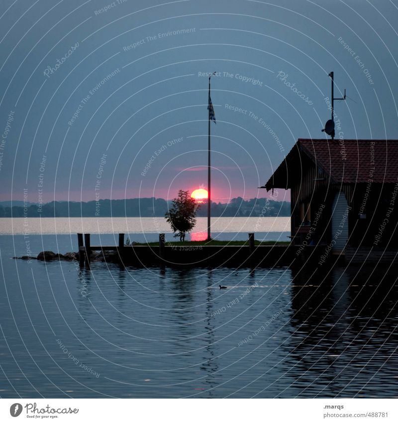 Zum Abend Himmel Natur schön Wasser Sommer Sonne Landschaft dunkel See Horizont Stimmung Idylle Schönes Wetter Ausflug Urelemente Romantik