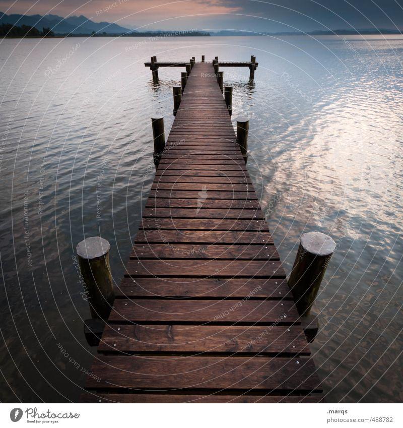 Ausflucht Stil Ferien & Urlaub & Reisen Tourismus Ausflug Natur Landschaft Urelemente Wasser Horizont Sommer Klima Wetter See Chiemsee Steg Holz Erholung