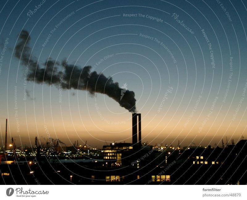 hamburg harbour city lights Stadt Fabrik Hamburg night dark Hafen Licht factory Schornstein chimney
