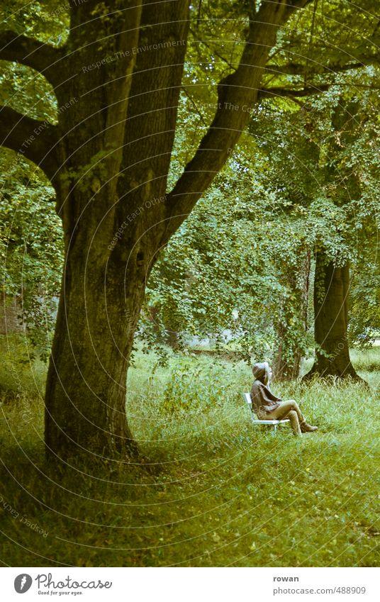 pause Mensch feminin Junge Frau Jugendliche Erwachsene 1 Umwelt Natur Landschaft Pflanze Baum Gras Sträucher Garten Park Wiese Wald grün ruhig Erholung sitzen