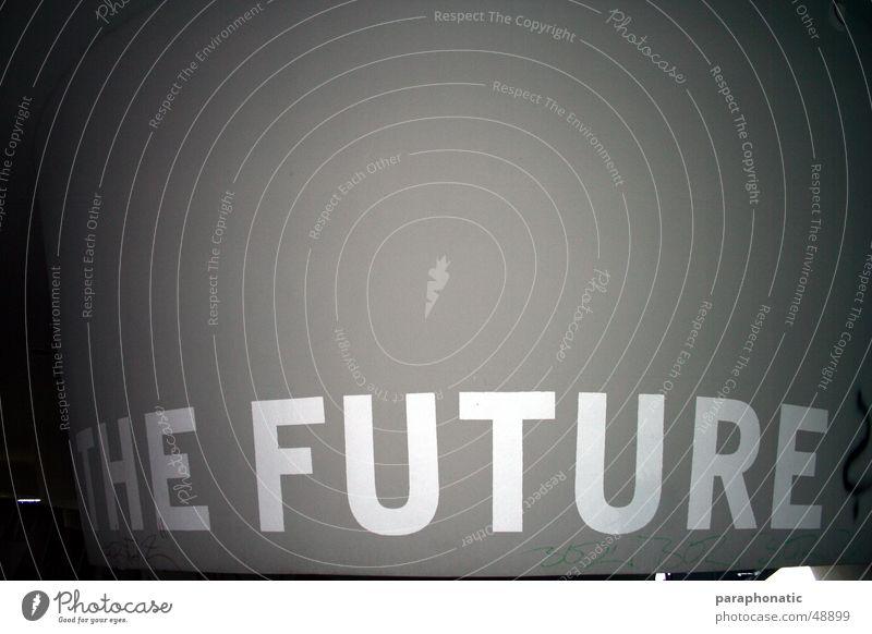 The Future? grau Buchstaben Kunst Eimer Verzweiflung Außenaufnahme Schilder & Markierungen Stein Schriftzeichen grafitti eindsam