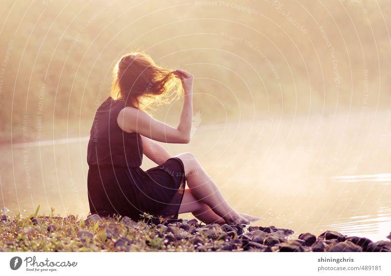 morgengold Mensch Jugendliche Wasser Junge Frau Landschaft ruhig Erwachsene feminin Schwimmen & Baden See nachdenklich Nebel sitzen Klima Seeufer Kleid
