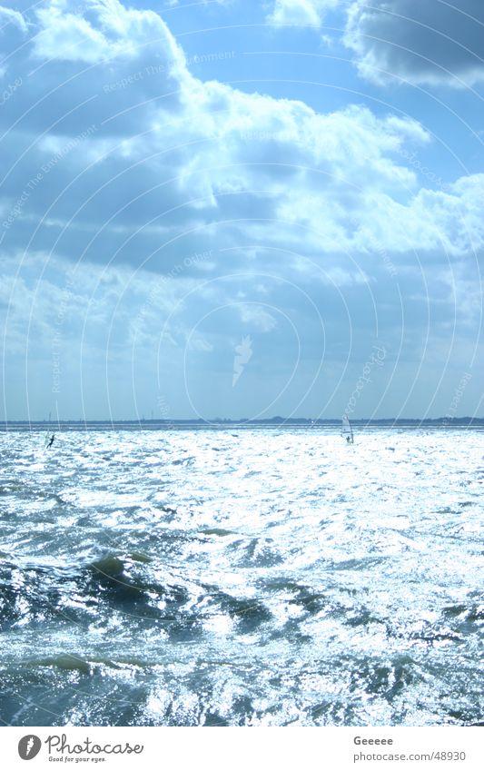 Wellen und Wolken Himmel blau Wasser Strand Segeln Surfer Wilhelmshaven Südstrand
