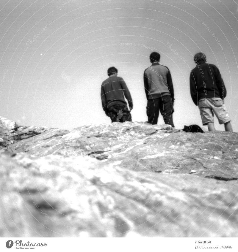 Gipfelfoto Olymp Freude Stein Felsen Gipfel Bergsteigen Griechenland Erschöpfung Bergsteiger Klettern Berg Olymp