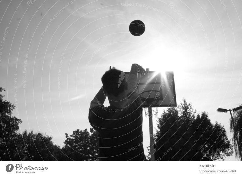 Streetball Korb Sommer Ballsport Basketball Sonne Schwarzweißfoto Sport werfen streetball
