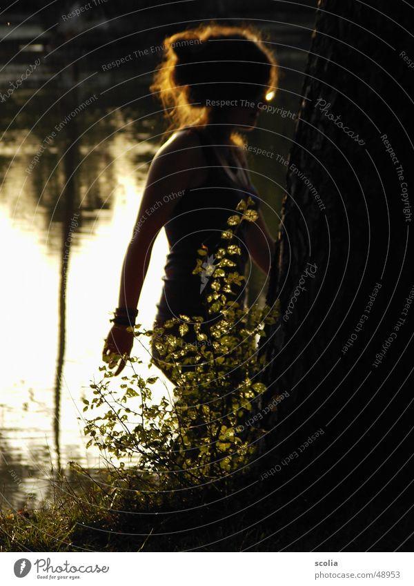 Hübsche Silhouette Frau Baum Sonne See