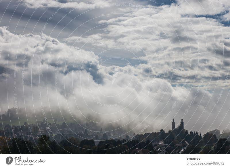 Stadt in den Wolken Himmel Natur Ferien & Urlaub & Reisen blau Himmel (Jenseits) Landschaft Haus dunkel Regen Wetter Nebel Klima Tourismus Kirche