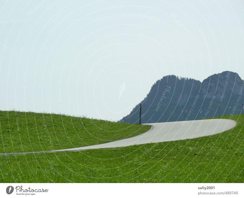 mit Schwung ins Gebirge Natur Landschaft Gras Wiese Alpen Berge u. Gebirge Straße Pass Serpentinen fahren grau grün Einsamkeit Wege & Pfade Kurve Kurvenlage
