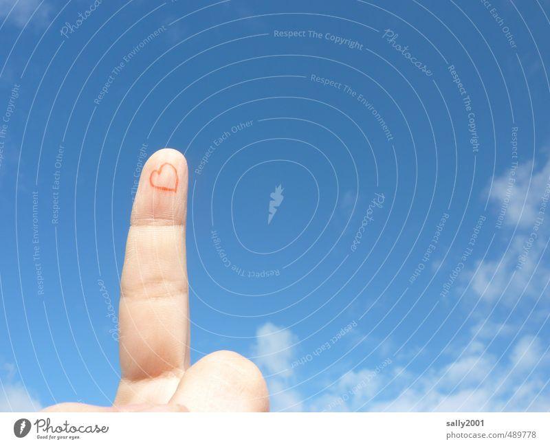 Liebeserklärung! Himmel blau rot Wolken Erotik Gefühle Glück Zusammensein Herz Finger berühren malen Freundlichkeit Romantik Symbole & Metaphern