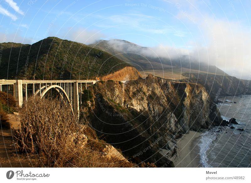 Big Sur Westcoast USA Himmel Sonne Meer Strand Ferien & Urlaub & Reisen Wolken Ferne Berge u. Gebirge Küste Nebel Brücke Aussicht Autobahn Amerika Westküste